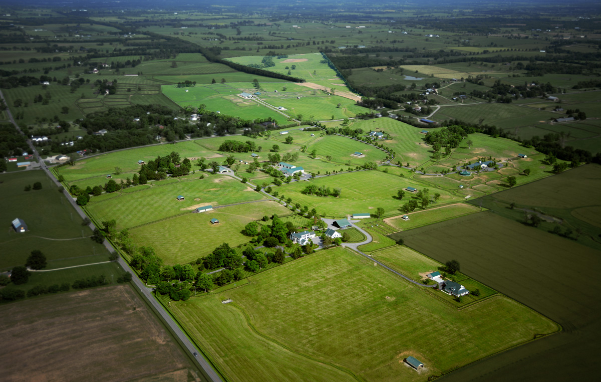 Aerial view of Town and Country Farms.